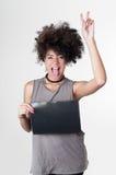 Hispanic brunette rebel model with afro like hair Royalty Free Stock Photos