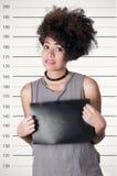 Hispanic brunette rebel model with afro like hair Royalty Free Stock Photography