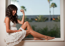 Hispanic brunette woman relaxing Stock Photos