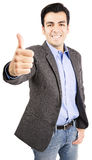 Hispanic business man giving thumbs up royalty free stock photo