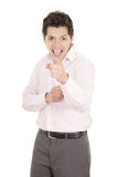 Hispanic business man pointing at something Royalty Free Stock Image