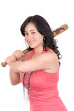 Hispanic business woman with baseball bat in hands Stock Image