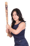 Hispanic business woman with baseball bat in hands Stock Photo