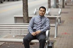 Hispanic Businessman - Bench Briefcase Royalty Free Stock Photos