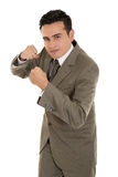 Hispanic Businessman boxing isolated on a white Royalty Free Stock Photo
