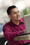 Hispanic Businessman - Cafe Laptop Working Stock Image