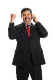 Hispanic Businessman Celebrating Stock Images
