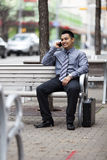Hispanic Businessman - Chatting on cell phone Stock Images