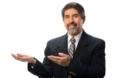 Hispanic Businessman Gesturing Stock Image