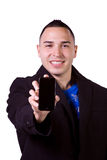 Hispanic Businessman Holding a Cell Phone Royalty Free Stock Images