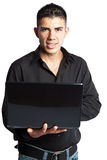 Hispanic businessman with laptop Stock Photos