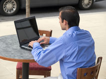 Hispanic businessman - laptop Stock Image
