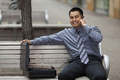 Hispanic Businessman - Talking on Cell Phone Stock Photography