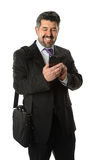 Hispanic Businessman Using Cellphone Stock Image