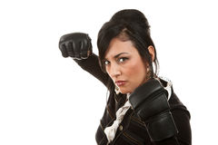 Hispanic Businesswoman with Boxing Gloves Stock Images