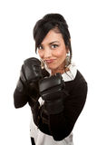 Hispanic Businesswoman with Boxing Gloves Royalty Free Stock Image