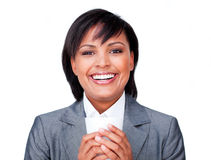 Hispanic businesswoman holding a coffee Royalty Free Stock Image