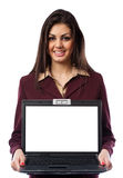 Hispanic businesswoman with laptop Royalty Free Stock Image