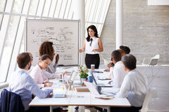 Hispanic Businesswoman Leading Meeting At Boardroom Table Stock Images