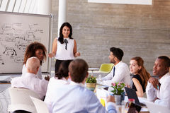 Hispanic Businesswoman Leading Meeting At Boardroom Table stock photography