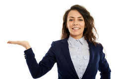 Hispanic businesswoman presenting a product Royalty Free Stock Photos