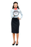 Hispanic businesswoman shouting megaphone loudspeker white Royalty Free Stock Images