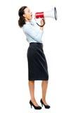 Hispanic businesswoman shouting megaphone loudspeker white. Hispanic business woman shouting in megaphone loudspeaker Stock Images
