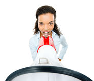 Hispanic businesswoman shouting megaphone loudspeker white Royalty Free Stock Photos