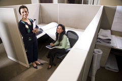 Hispanic businesswomen in cubicle Royalty Free Stock Photo