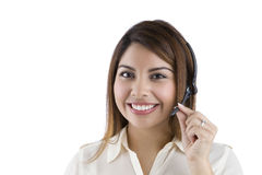 Hispanic Call-center Employee. Latino Customer Service Woman with Headset royalty free stock photography