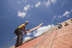 Hispanic carpenter placing roof sheathing Stock Photo