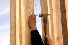Hispanic carpenter pounding Royalty Free Stock Photography