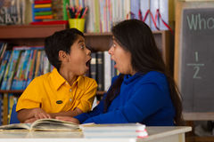 Hispanic Child and Mom Receive Big Surprise Stock Photography
