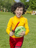 Hispanic Child Playing Outdoors Royalty Free Stock Photos