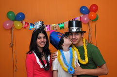 Hispanic Children at a New Years Eve Party Royalty Free Stock Images