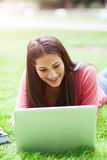 Hispanic college student with laptop Stock Photo