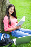 Hispanic college student studying Royalty Free Stock Photos
