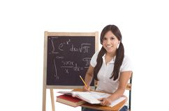 Hispanic College student woman studying math exam Stock Photo