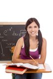 Hispanic college student woman studying math exam Royalty Free Stock Photos
