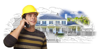 Hispanic Construction Worker on Phone Over House Drawing and Pho Stock Images