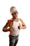 Hispanic contractor giving a thumbs up sign Royalty Free Stock Photo