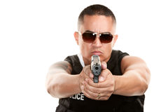 Hispanic Cop Aiming Pistol Royalty Free Stock Images