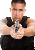 Hispanic Cop with Pistol Royalty Free Stock Photo