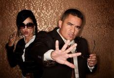 Hispanic couple caught in a photographer flash Stock Photos