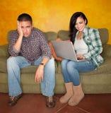 Hispanic Couple with Computer Royalty Free Stock Photos