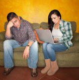 Hispanic Couple with Computer Royalty Free Stock Image