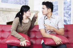 Hispanic couple having fight Stock Photos