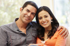Hispanic couple at home Stock Images