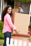 Hispanic couple moving into new home Royalty Free Stock Photo