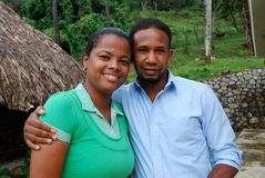 Hispanic couple in a tropical location Royalty Free Stock Photography
